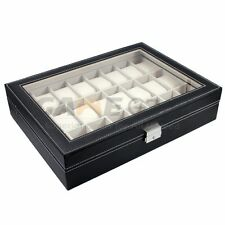 24 Slot Watch Box Leather Display Case Organizer Top Glass Jewelry Storage Black