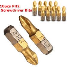 "10X 1/4"" Titanium Coated Anti Slip Hex Shank PH2 Screwdriver Bit Drill Bits 25mm"