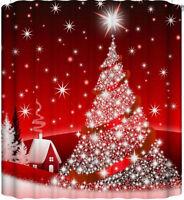 Woodland Lodge Cabin Christmas Shower Curtain Shimmery Stars Christmas Tree