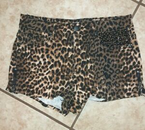 Forever 21 Short Size 26 Leopard Animal Print Studded High-rise 2 Inch Inseam