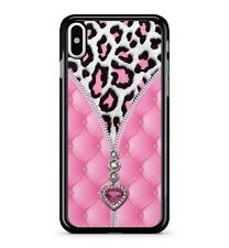 Spotted Pink Leopard Camo Dreamy Velvet Love Heart Zip 2D Phone Case Cover