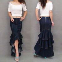 New Women Denim Slim Ruffles Mermaid Long Dress Jeans Pleated Skirt Casual Dress