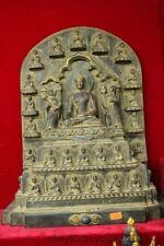 "16""Old Tibet Buddhism Temple Hand carving Stone Shakyamuni Amitabha Buddha"