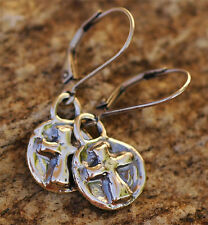 Sterling Silver Cross Earrings with Lever Backs, Artisan Earrings