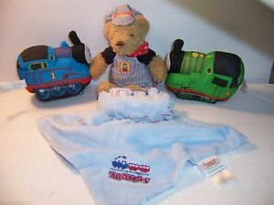 Thomas the Train Engine & Percy/ Security Blanket & Teddy Bear - LOT OF 4 - VGC