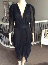 daa5c706eb Bianca Spender Black Silk Dress Size 10 Brand New