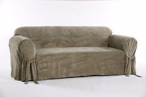 Classic Slipcovers Solid Velvet Sofa Slipcover Olive Green