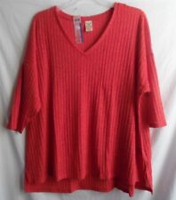 FADED GLORY BRILLIANT RED KNIT POLY/ SPANDEX TOP BLOUSE SHORT SLEEVE 4X 26W 28W