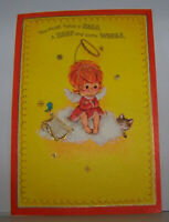 Vintage Greeting Card Hallmark Little Girl Angel Cat Kitten Harp Heavenly Things