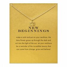 "18K Gold Plated ""New Beginnings"" Lotus Flower Inspirational Message Necklace"