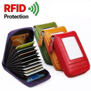 Rfid Protection Blocage Porte Carte de Crédit Cuir Portefeuille Fermeture Mince