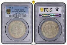 Weimarer Republik 5 Mark Eichbaum 1928 D Erhaltung PCGS AU58 J.331 Weimar coin