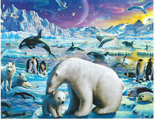 Arctic Night Glow Dark Polar Bear Orca Seal 100 pc Bagged Boxless Jigsaw Puzzle