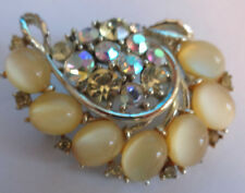 Signed Lisner Aurora Borealis Cabochon Moonglow Rhinestone Eastern Pin Brooch