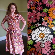 Rare Russian Vtg 40-50s Cotton Day Dress Pink Floral Black Cotton Nos Never Worn
