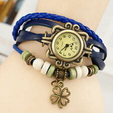 Reloj Pulsera Reino Unido Ladies Aspecto de Cuero Multicapa trébol encanto vintage azul 8014