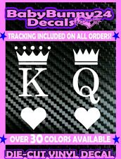 King & Queen Couple His and Hers Heart Vinyl Decal Sticker Laptop Car Truck