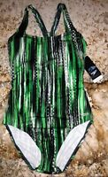 SPEEDO Endurance + Ultraback Green Black White 1 pc Swim Suit Womens Sz 8 10 12