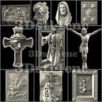 10 3D Models STL CNC Router Artcam Aspire Religion Jesus Cross Set Cut3D Vcarve