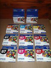 Lot of 11 Epson 87 Ink Cartridges Epsom Stylus Photo R1900 Expired