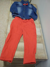 Kids Tales Size 3 Boys Red Pants Denim Shirt Polka Dot Bow Tie
