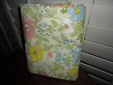 VINTAGE CANNON ROYAL FAMILY YELLOW PINK GREEN COTSWOLD FULL FLAT SHEET 81 X 98