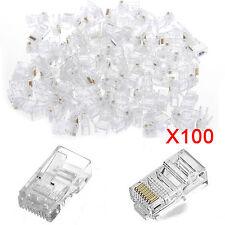 100 x RJ45 Network LAN CAT5e Cable End Crimp Plug Connector GOLD Pins UK