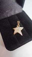 STAR PENDANT FOR NECKLACE GOLD 18K 1,80GR DIAMAND 0.30CT PENDENTIF COLLIER OR