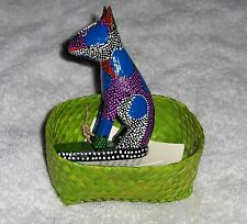 Primitive Folk Art Dog In Basket Figurine By Artist M. Subrata Bali Indonesia