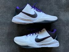 "NIKE ZOOM KOBE 5 - SIZE 12 US - ""INLINE"" (WHITE/BLACK/VARSITY PURPLE) BRAND NEW!"
