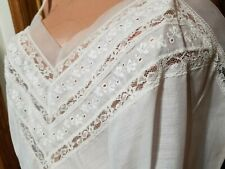 Nip Sz 32 70S Vtg Jc. Penney Cotton Poly Full Slip Negligee chevron eyelet Lace