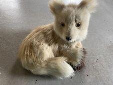 Real Fur Laying Coyote Fox Figurine