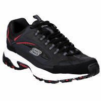 Skechers Men's Stamina Cutback Low Top Sneaker Shoes Black Red Footwear Active