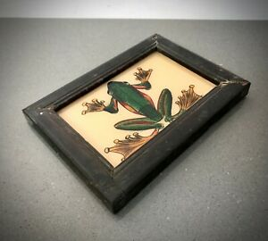 VINTAGE INDIAN REVERSE GLASS PAINTING. GREEN FROG IN ART DECO FRAME.