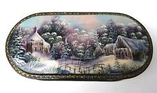 Lacquer Fedoskino Russian Handmade Genuine Trinket Box Signed Winter Christmas