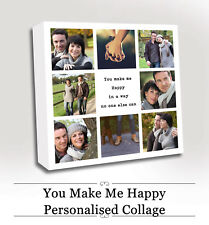VALENTINES GIFT WIFE BOYFRIEND Collage Canvas Photo Gift Personalised - HAPPY