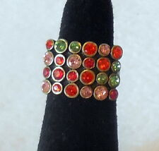 Fashion MULTI COLORED RHINESTONE adjustable COCKTAIL RING gold plate