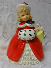 Napco 50's Japan Reliable Christmas Girl Lady Peppermint Porcelain Planter Vase