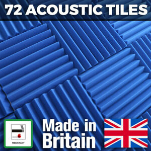 72 Blue Acoustic Foam Tiles Studio Sound Treatment Panels For Podcasts Streamers