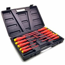 Electricians Insulated Electrical Screwdriver Soft Grip 11pc Set With Case Sil01