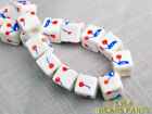 20pcs 10mm Porcelain Red Blue Cube Square Ceramic Porcelain Big Loose Beads