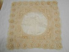 EXQUISITE Vintage Antique SILK LACE CREAM BEIGE LACE WEDDING Handkerchief Hanky