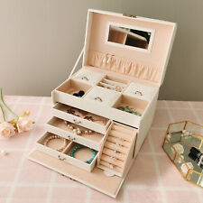 White Large Jewellery Box w/Mirror&Lock Cabinet Necklace Ring Bracelet Organizer