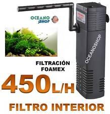 FILTRO INTERIOR 450L/H ACUARIO con FOAMEX 5W Tortuguera Gambario pecera INTERNO