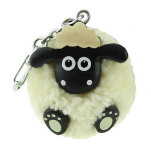 White Fluffy Pom Pom Sheep Lamb Key Chain Ring Charm
