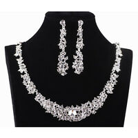 Women Bridal Bride Wedding Jewelry Crystal Rhinestone Necklace Earrings Set Gift