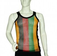 FITTED  Rasta Stripe 100% Cotton String Fishnet Mesh Muscle Vest Tank Top