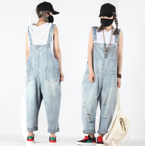 Dungarees Baggy Loose Hippy Ripped Jeans Denim Pants Jumpsuit Cargo Overalls New