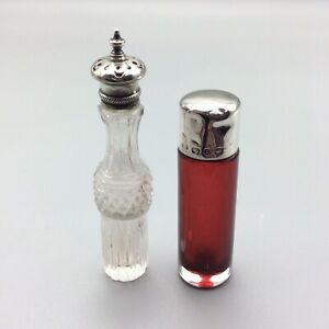 ANTIQUE GLASS MINIATURE PERFUME SCENT BOTTLES STERLING SILVER TOPS HM1864 & 1901