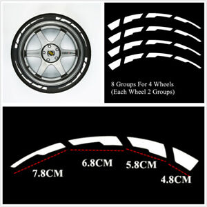 Car Tyre Stripes Sticker Reflective Decal Emblems Decoration 8 Groups Waterproof